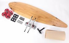 """Bamboo 40"""" Pintail Longboard Skateboard With Clear Red Wheels Complete Kit"""