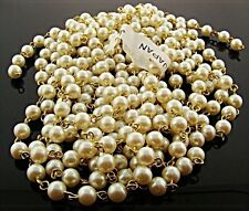 3 FEET VINTAGE JAPANESE CULTURA 6mm. PEARL BEADED BRASS ROSARY LINK CHAIN 1058