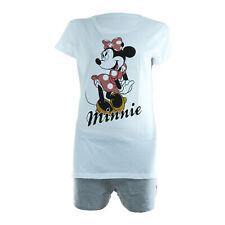 Schlafanzug Damen Pyjama kurz Disney Minnie Mouse Shorty Set - Grau / Schwarz