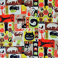 Japanese Fabric 100% Cotton Cat Cheerful Days Brown Orange Per Half Metre TG98