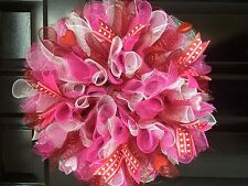 Valentine Wreath Holiday Pink and Red Mesh Multi Ribbon