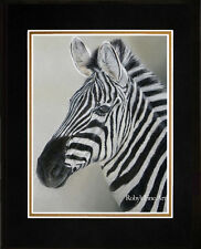 """Matted Zebra Wildlife Art Print """"All Ears"""" Africa 8""""x10"""" Mat Giclee by Roby Baer"""