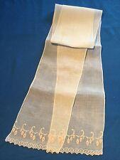 Echarpe, ceinture ou autre, ancienne, en fin linon blanc, broderie ...