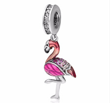 NEW Pink Flamingo Charm Dangle Pendant Ladies 925 Stirling Silver Jewelry bead