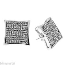 Huge Kite 20 mm Iced-Out Silver Tone 12 Row Men Micro Pave Big Hip Hop Earrings
