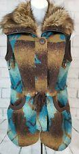 Tasha Polizzi Collection Turquoise Blue Aztec Blanket Vest Jacket Faux Fur Trim