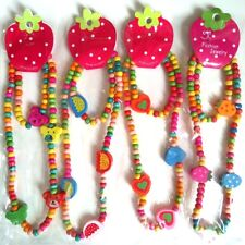 12pcs(6sets) Girls Kids Natural Wood Beads Cute Bracelet Necklace Party Bag Gift
