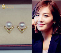 Stunning AAA+ 6-7mm real natural Japanese Akoya white round pearl earrings 18k