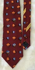 Ermenegildo Zegna  tie-burgundy with blue & orange flowers-silk satin-Italy