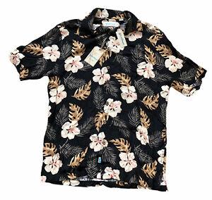 NWT Caribbean Mens Tall Man Floral Hawaiian Camp Shirt Size LT Tall Short Sleeve