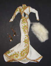Barbie Fashion White/Gold Evening Gown For Model Muse Barbie Doll hf00