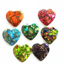 7pcs Mixed Color Sea Sediment Jasper & Pyrite Heart Pendant Bead Wholesale