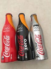 Coca Cola 2012 London Olympics Set of 3 Full Aluminium Bottles 250ml each New