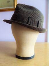 Vintage Fedora Hat Plaid Wool Size 7.25 Trilby Brown Black Rosollino 1960s 1970s