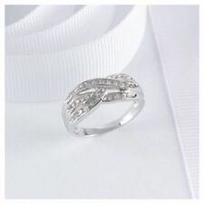 9ct White Gold Crossover Diamond Wedding Ring