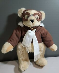 "Vermont Teddy Bear Company 15"" Aviator Pilot Goggles Jacket Scarf YKK Zipper"