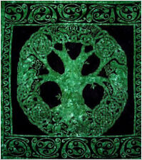 """OPEN CIRCLE TREE OF LIFE Huge Tapestry/Wall Hanging Emerald Green 90""""x99"""""""