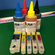 Refillable Cartridges 4 Lubr Ink Epson Expression XP 625 700 720 810 820 825 26
