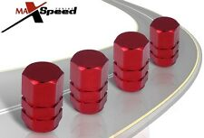 (Qty of 4) Red Hex Aluminum Wheel Valve Caps - Car Tires Rim Bike Stems Cover