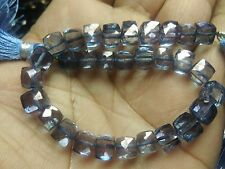 """CRYSTAL COATED IOLITE  CUBE BOX FACETED 7 MM, 7.5""""LONG STRANDS"""