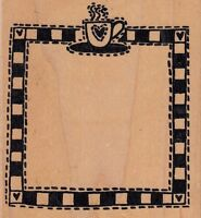 "coffee frame a stamp in the hand Wood Mounted Rubber Stamp 3 1/2 x 4"" Free Ship"