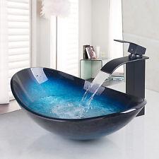 ORB salle de bains en verre trempé évier Taps Set + peinture bassin robinet