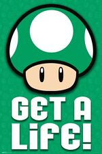 Super Mario Bros Green Mushroom Get a Life 1up 24x36 poster Nintendo Video Games