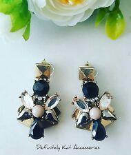 Modern gold, black & white, pale peach drop crystal statement stud earrings