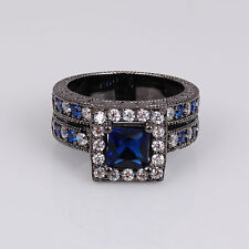 Black 18K Gold Filled Blue Sapphire CZ Ring Size 7