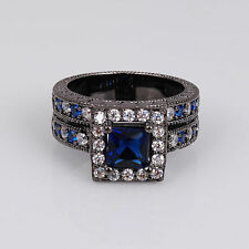 Black 18K Gold Filled Blue Sapphire CZ Ring Size 7