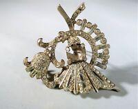 Vintage Rhinestone Brooch Pin Baguettes Flower Bouquet Wedding Bridal Heirloom
