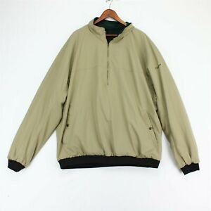 FootJoy Reversible 1/2 Zip Golf Jacket Mens XXL Green Khaki Fleece Windbreaker