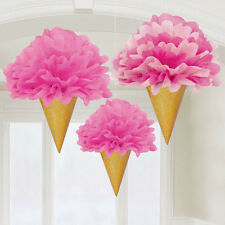 3 x Deluxe Pretty Pink Ice Cream Cone Fluffy Hanging Party Decorations 30cm