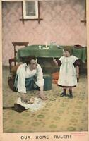 VINTAGE COMIC BAMFORTH LITTLE GIRL is OUR HOME RULER DAD WASHES POSTCARD - USED