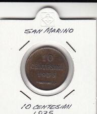 SAN MARINO CENTESIMI  10 RAME CENT. 1935 TIRATURA BASSA IN OBLO' OCCASIONE