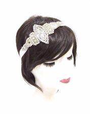Silver White Bridal Headband Wedding Headpiece Diamante Hair Band Ribbon 2886