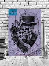 Gótico Skulls Romántico Tarjeta Postal Vintage Enmarcado Arte Cuadro Lienzo Obra