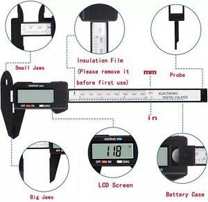 Electronic Digital Caliper 150mm 6 Inc Carbon Fiber Vernier Micrometer Guage LCD
