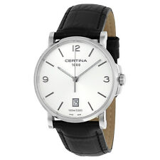 Certina DS Caimano Quartz Silver Dial Black Leather Ladies Watch C0174101603700