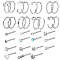 32PCS CZ Hoop Nose Ring Ear Stud Pin Bone Tragus Cartilage Piercing Jewelry 20G