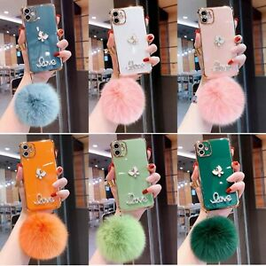 For iPhone 12 11 Pro Max XR XS 7 8 Bling Diamond Butterfly Plush Ball Case Cover