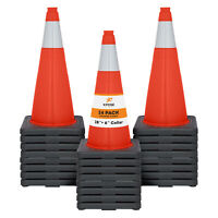 "24 of Orange Traffic Cones 28 Inch with 6"" Collar - PVC Plastic Safety Cone"