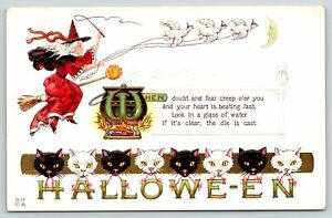 Halloween~Geese Pull Red Witch on Broom~Kettle Boils~Black White Cats~NASH H-17