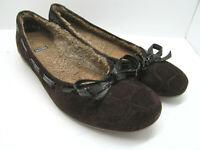 Stuart Weitzman Brown Faux fur lined Suede Womens Flats Size 8.5 N