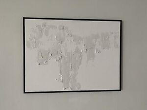 White Minimalist Textured Framed Canvas