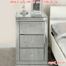Mirrored Glass Bedside Cabinet Table With 3 Drawers Bedroom Home Furniture UK