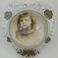 Heart Dome Bubble Glass Picture Frame Convex Sepia Child Portrait w/ Metal Stand