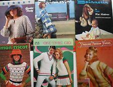 Lot of 6 Vintage KNITTING / CROCHETING PUBLICATIONS Spinnerin Bernat  Mon Tricot