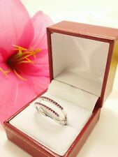 14k Solid White Gold Polished Pink Affinity Ruby Ring 4.20 Grams