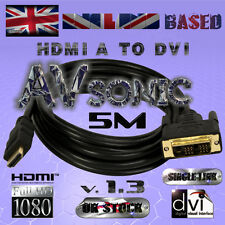 DVI-D (19Pin) to HDMI A CABLE/LEAD / SINGLE LINK HDMI  v1.3 / PC / TV (5 Metres)